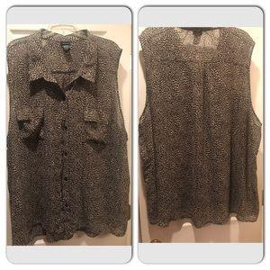 Torrid size 5x chiffon blouse small leopard print